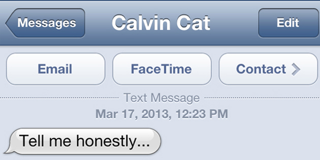 Text from Cat: Tell me honestly